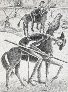 Don Kichot getting weaker - Figurative Etching Print Black & white