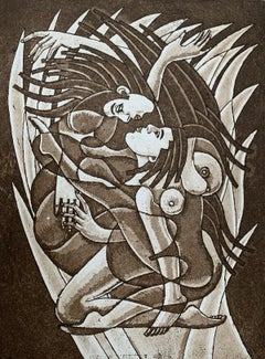 Kissing in flames - Figurative Etching Print Monochromatic Surreal