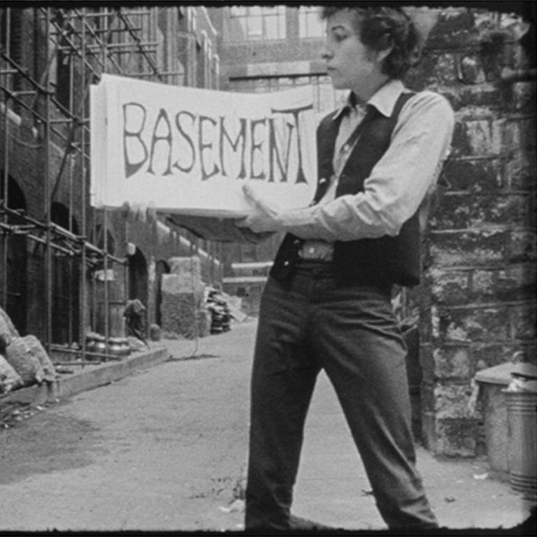 Bob Dylan in cue card scene from DONT LOOK BACK (quadtych) - Contemporary Mixed Media Art by D.A. Pennebaker