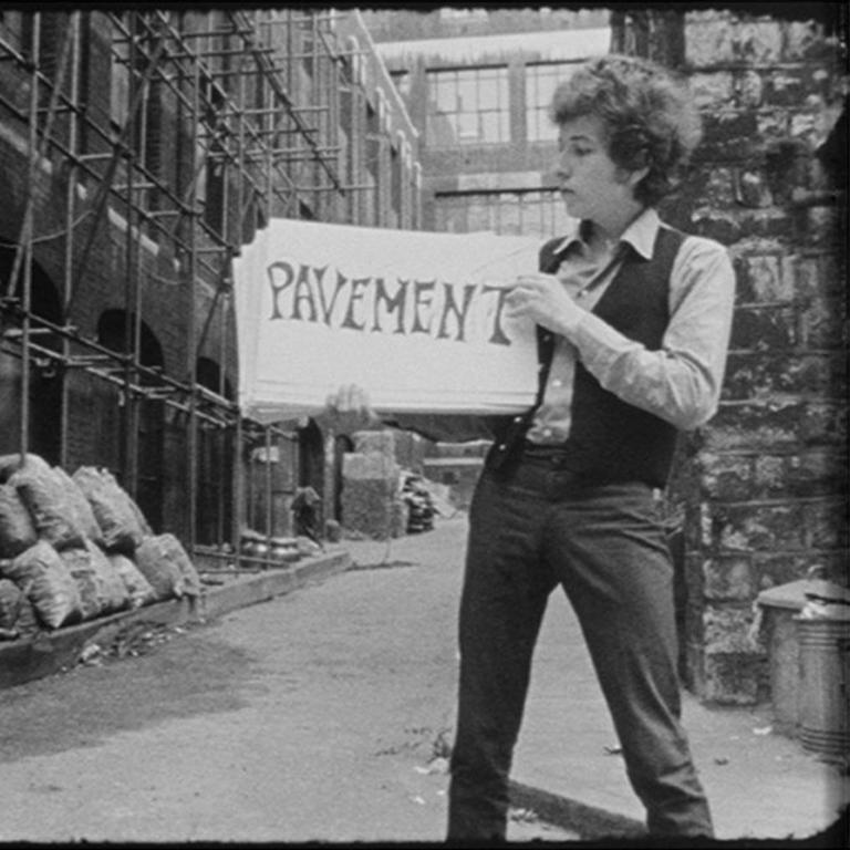 Bob Dylan in cue card scene from DONT LOOK BACK (quadtych) 1