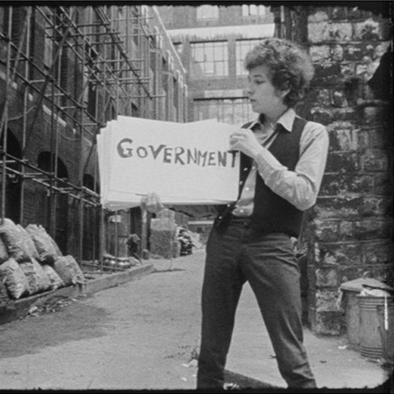 Bob Dylan in cue card scene from DONT LOOK BACK (quadtych) 2