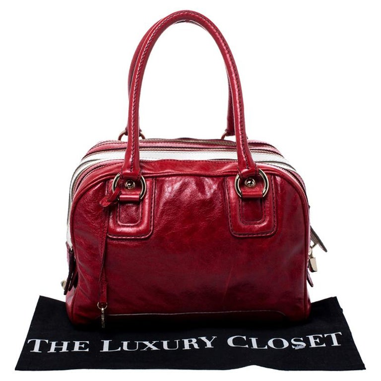 D and G Red Leather Lily Duffle Bag For Sale 7