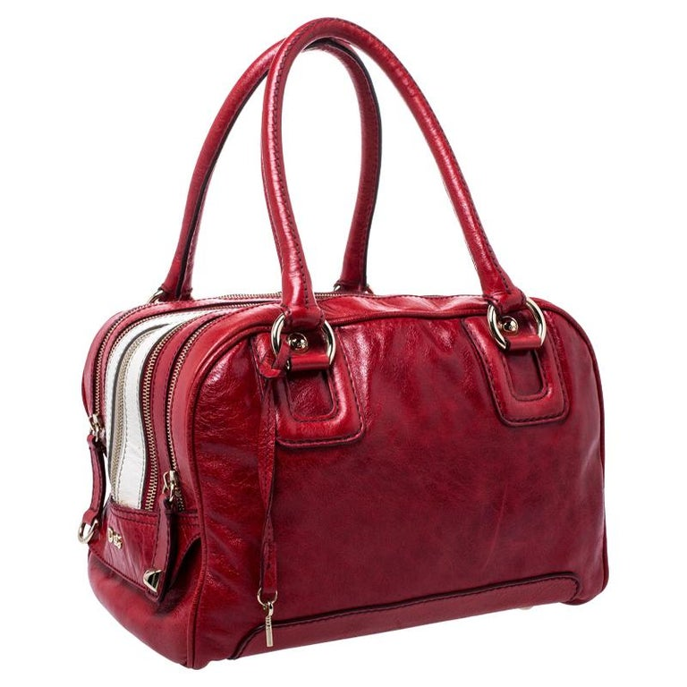 Women's D and G Red Leather Lily Duffle Bag For Sale