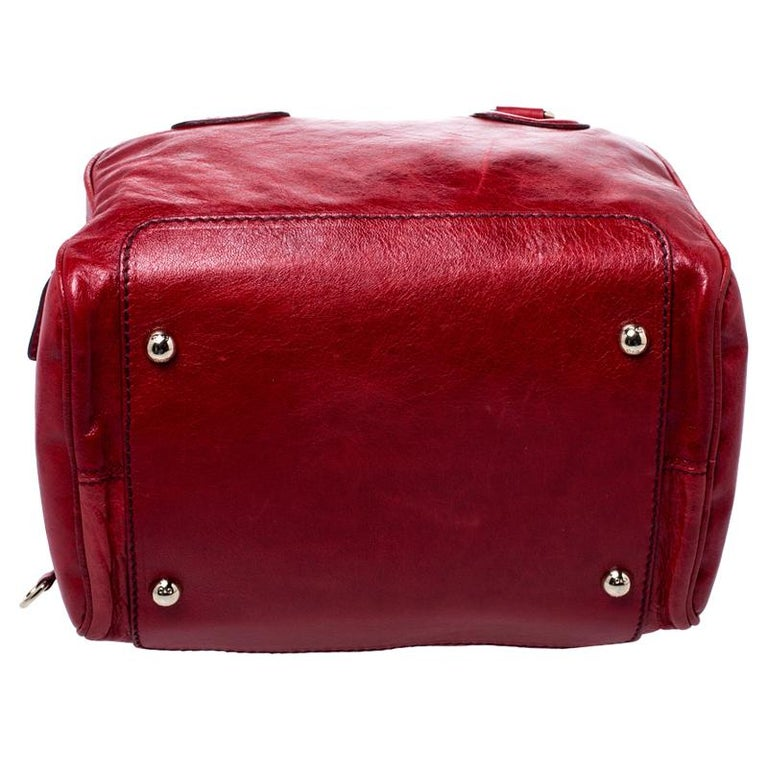 D and G Red Leather Lily Duffle Bag For Sale 1