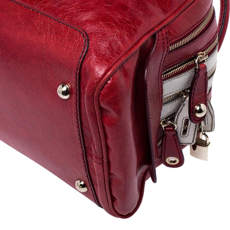 D and G Red Leather Lily Duffle Bag For Sale 2