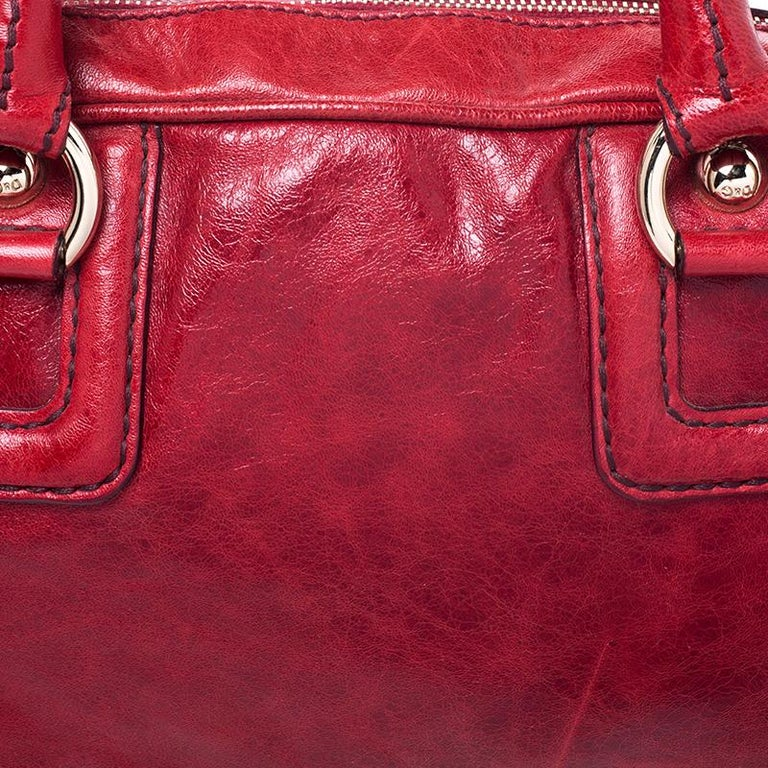 D and G Red Leather Lily Duffle Bag For Sale 3