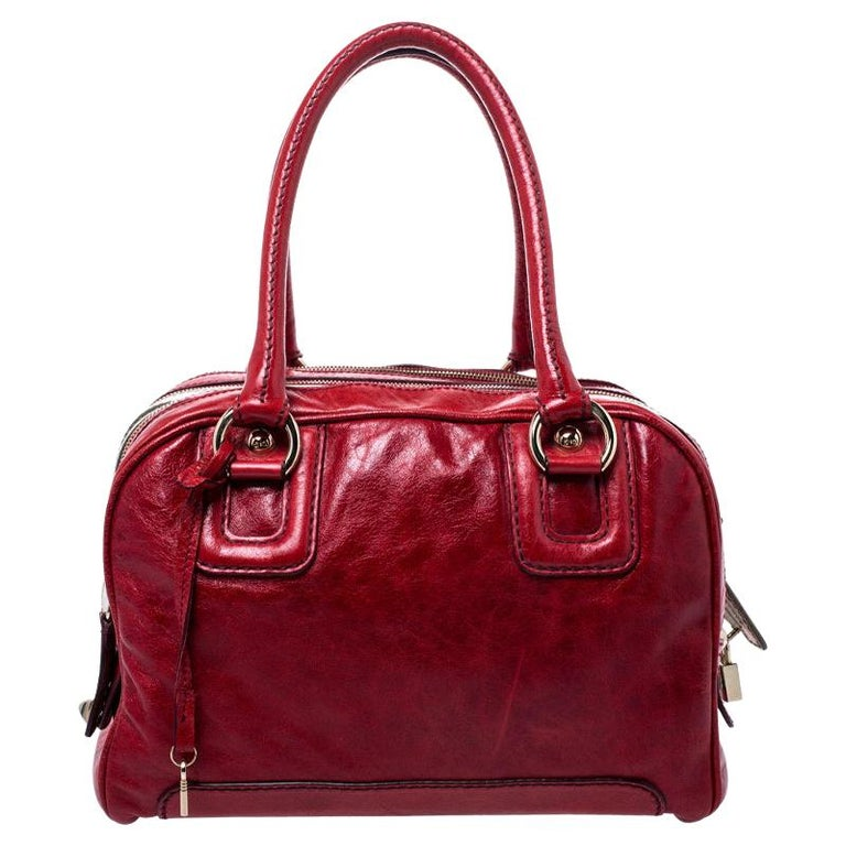D and G Red Leather Lily Duffle Bag For Sale