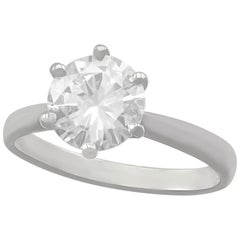 D Color 2 Carat Diamond and Platinum Solitaire Engagement Ring