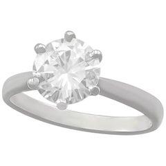 D Color 2 Carat Diamond and Platinum Solitaire Engagement Ring