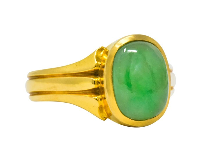 Oval Cut D & F Victorian Jadeite Jade 18 Karat Gold Unisex Ring GIA For Sale