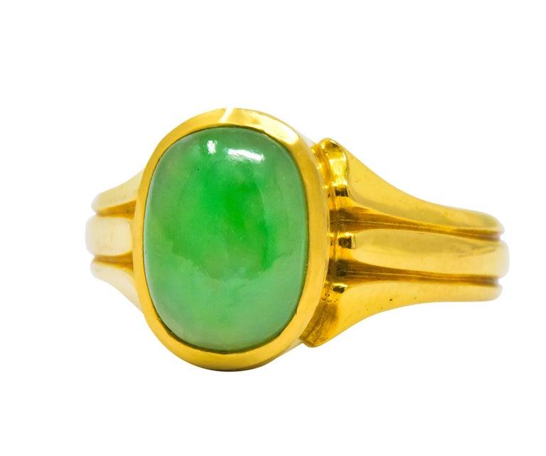 D & F Victorian Jadeite Jade 18 Karat Gold Unisex Ring GIA For Sale 1