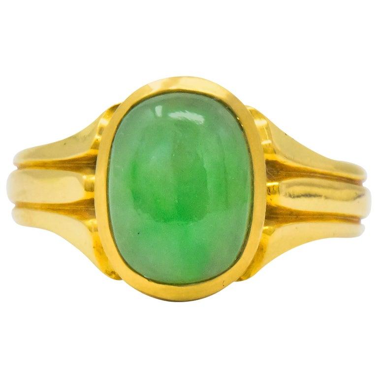 D & F Victorian Jadeite Jade 18 Karat Gold Unisex Ring GIA For Sale