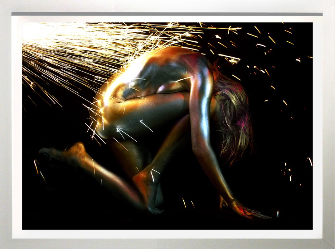 """""""Electric Girl with Metallic Gold Sparks"""" 30x40 framed"""
