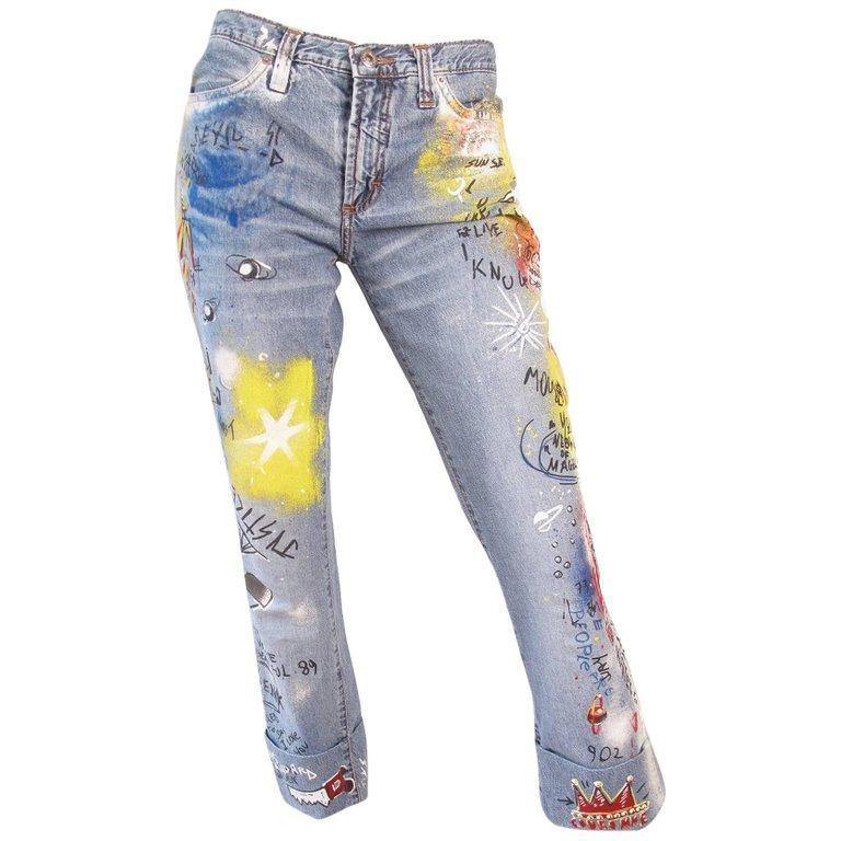 Gray D & G Graffiti Jeans, 1990s For Sale