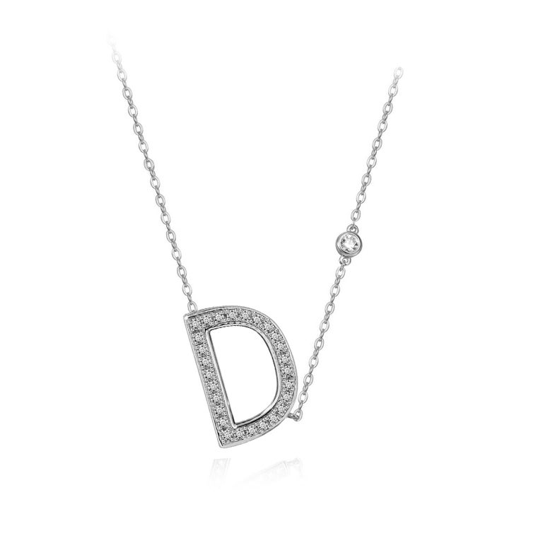 Modern D Initial Bezel Chain Necklace For Sale