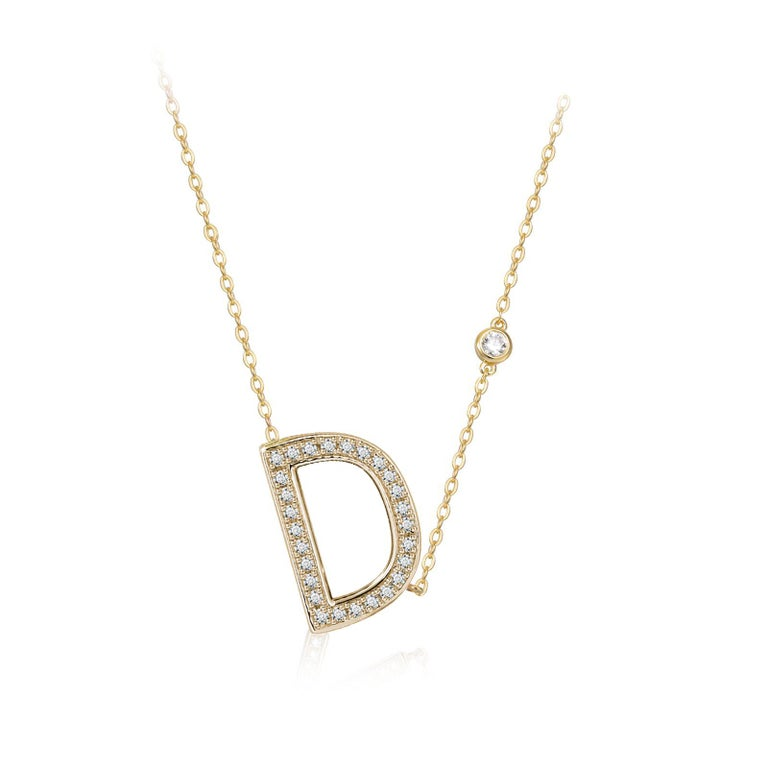 Trillion Cut D Initial Bezel Chain Necklace For Sale