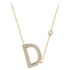 D Initial Bezel Chain Necklace