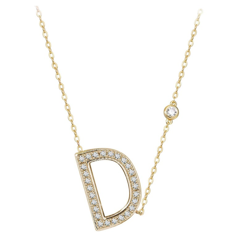 D Initial Bezel Chain Necklace For Sale