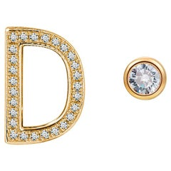 D Initial Bezel Mismatched Earrings