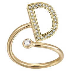 D Initial Bezel Wire Ring