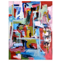 D Puertas Abstract Expressionist Painting in Red Blue and Yellow