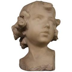 D. Razeti 20th Century Marble Italian Signed Sculpture Cherub Head, 1900