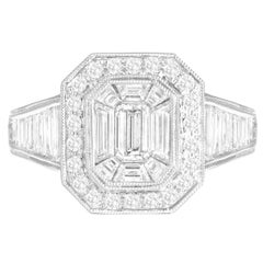 DiamondTown 2.31 Carat Baguette and Round Cluster Diamond Ring in 18k White Gold