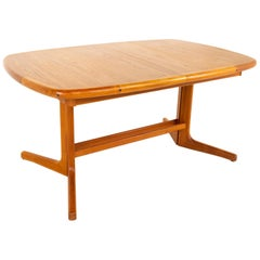 D-Scan Midcentury Teak Hidden Leaf Dining Table