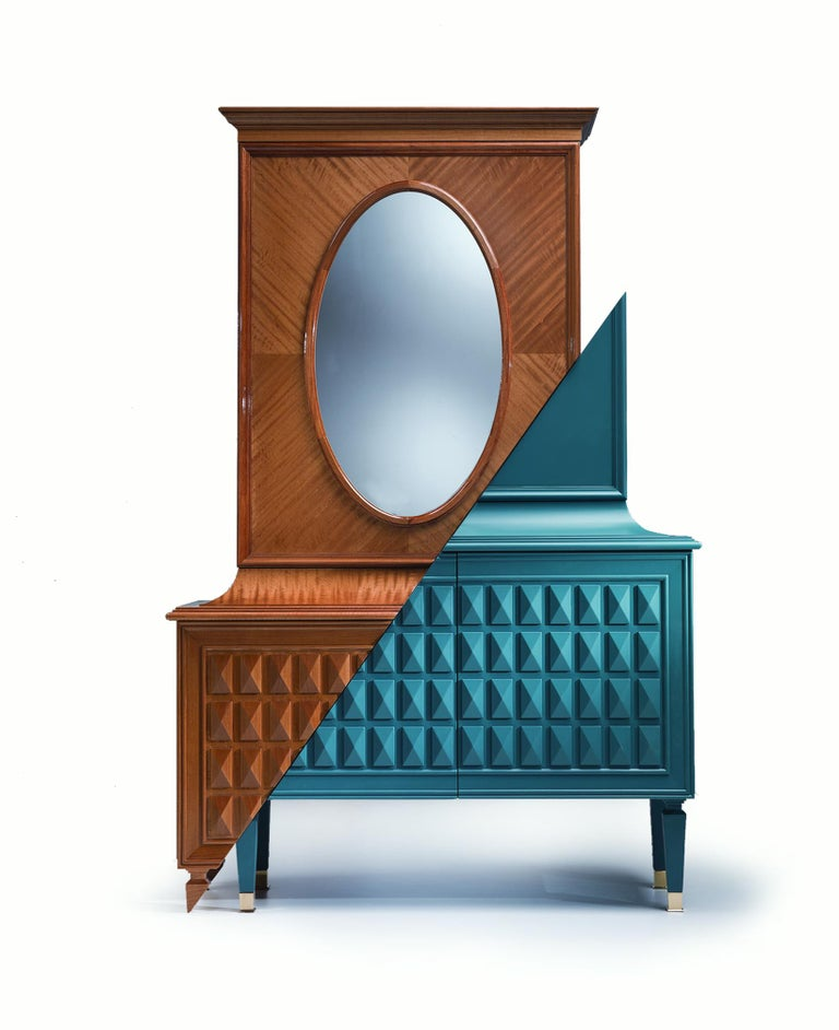 Contemporary D/Vision 1 Cabinet or Chest in Walnut with Matte Blue Lacquer For Sale 1