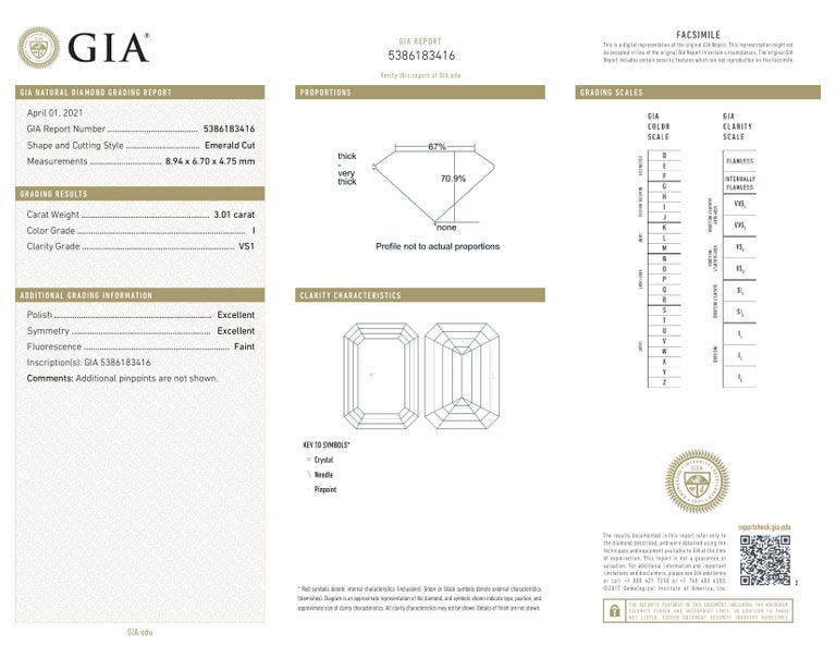 GIA Certified 3.55 Emerald Cut Solitaire Engagement Ring Platinum In New Condition For Sale In Rome, IT