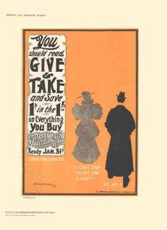1897 D. Whitelaw 'Give & Take' Orange,Black & White Germany Lithograph