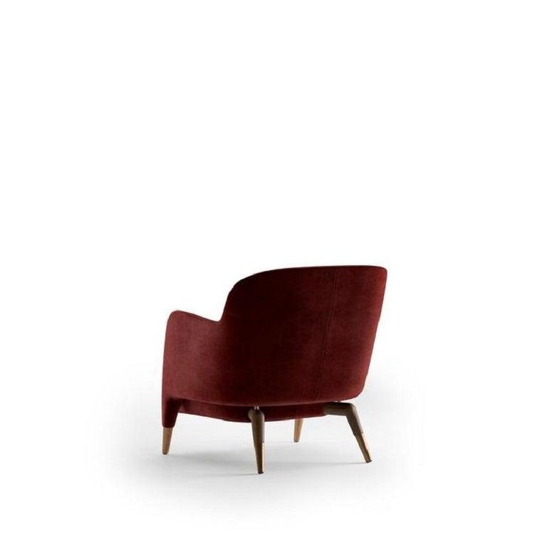 Modern Molteni&C D.151.4 Armchair Gio Ponti Design Red Velvet For Sale