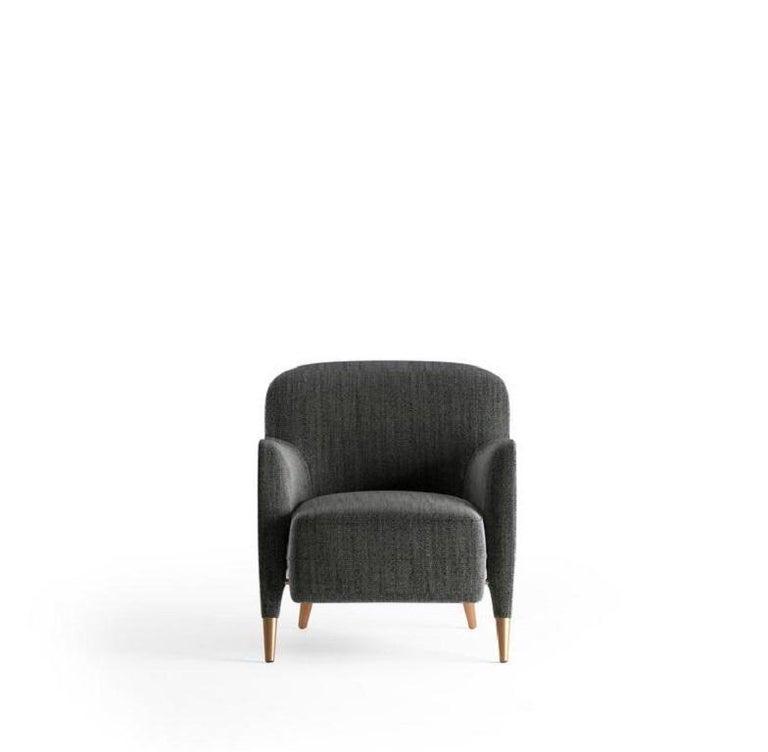 Molteni&C D.151.4 Armchair Gio Ponti Design Grey Fabrics In New Condition For Sale In New York, NY