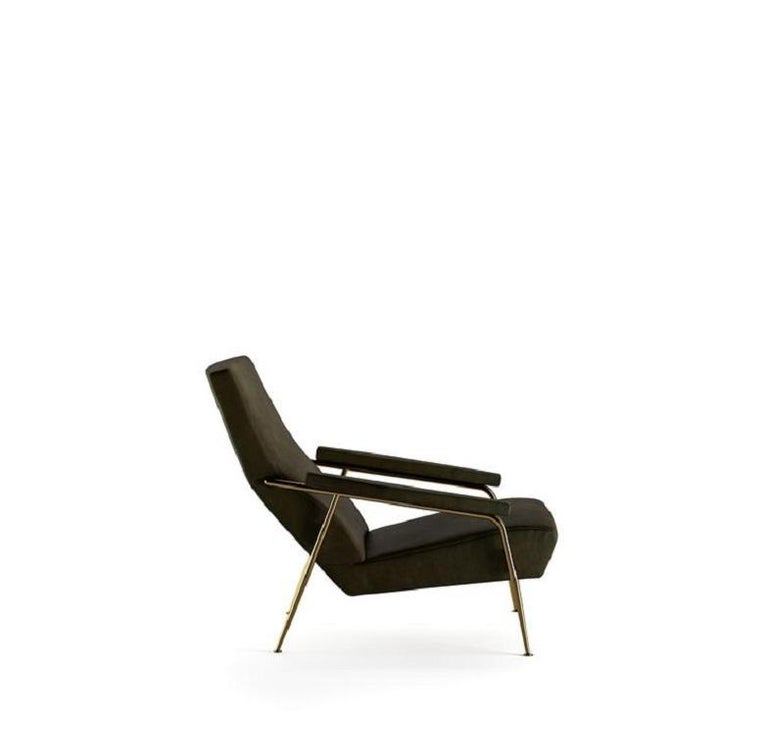 Iconic mid-century high backrest accent armchair with brass structure and Black Scirocco Leather   100% made in Italy Residential and commercial spaces design versatility Completely removable covers.