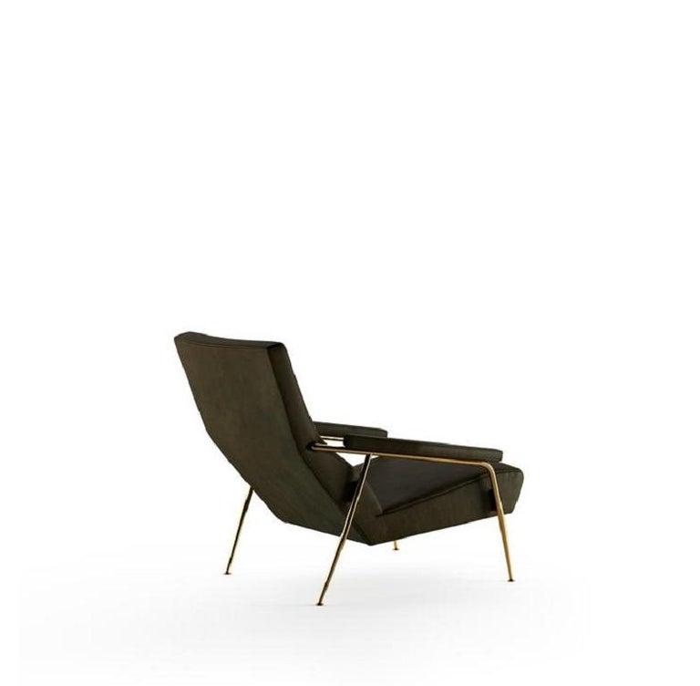 Italian Molteni&C D.153.1 Armchair Design Gio Ponti Black Scirocco Leather For Sale