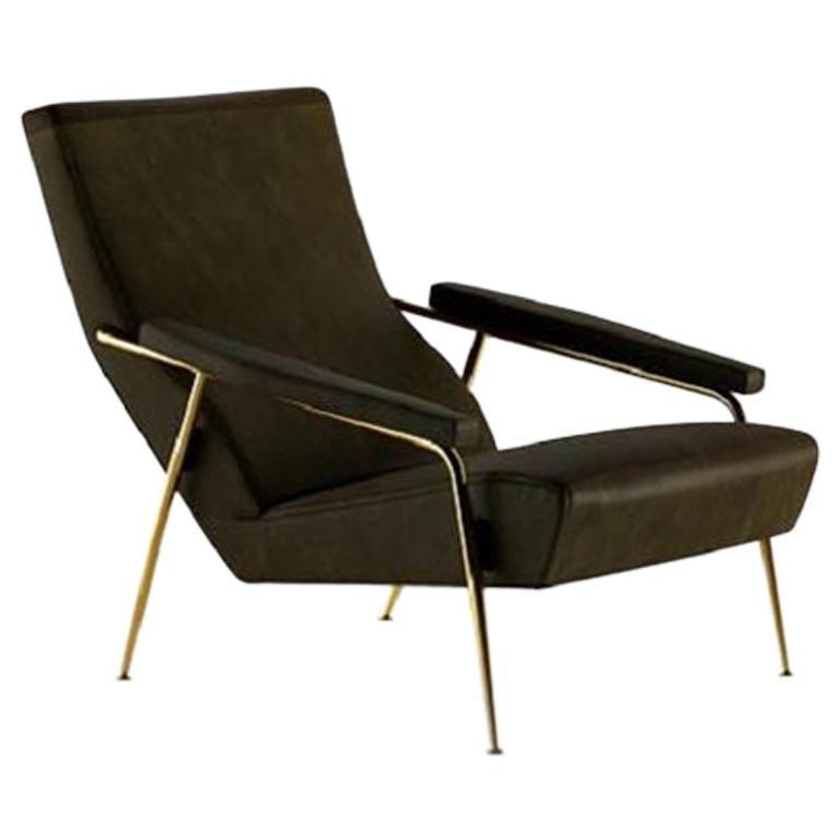 Molteni&C D.153.1 Armchair Design Gio Ponti Black Scirocco Leather For Sale