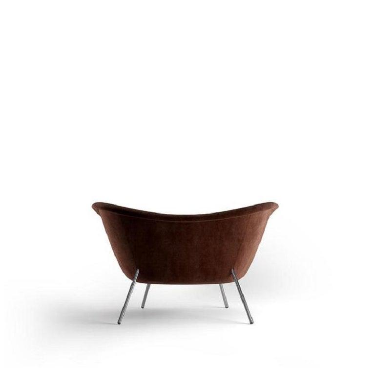 Italian Molteni&C D.154.2 Armchair Gio Ponti Design Brown Velvet For Sale