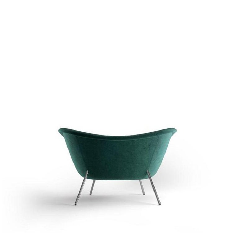 Italian Molteni&C D.154.2 Armchair Gio Ponti Design Green Velvet For Sale