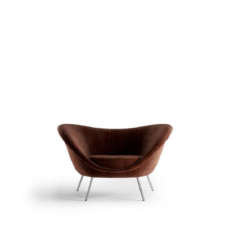 Molteni&C D.154.2 Armchair Gio Ponti Design Brown Velvet In New Condition For Sale In New York, NY