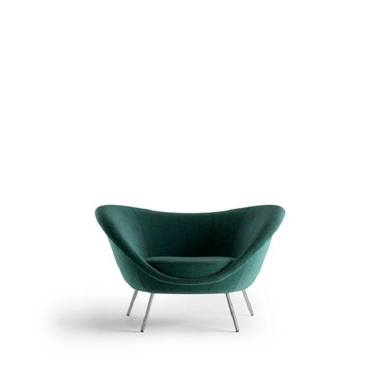 Molteni&C D.154.2 Armchair Gio Ponti Design Green Velvet In New Condition For Sale In New York, NY