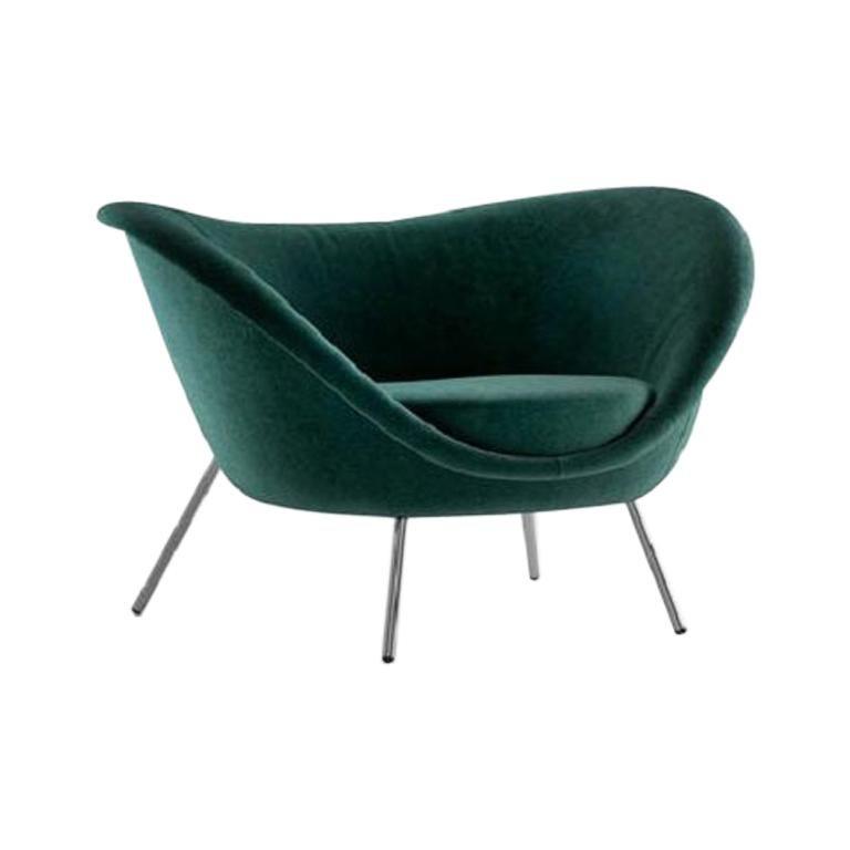 Molteni&C D.154.2 Armchair Gio Ponti Design Green Velvet For Sale
