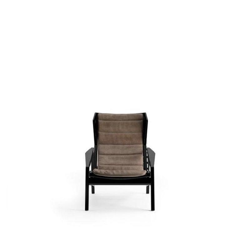 Italian Molteni&C D.156.3 Armchair Design Gio Ponti Brown Leather For Sale