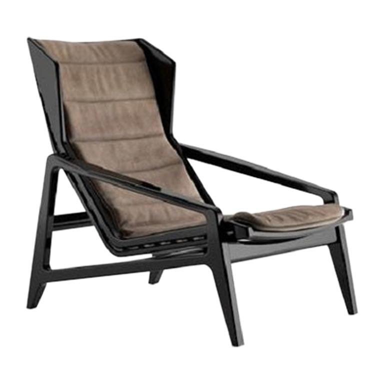 Molteni&C D.156.3 Armchair Design Gio Ponti Brown Leather For Sale