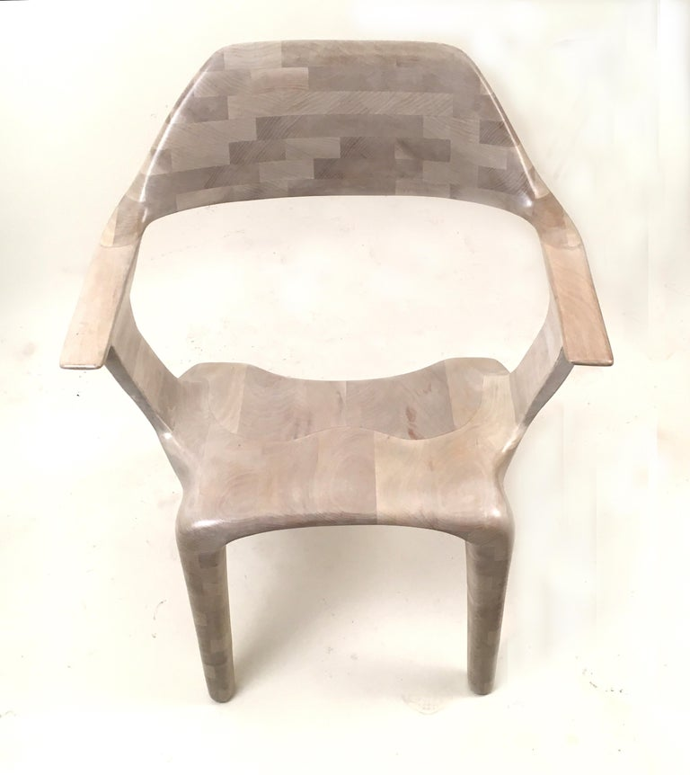 Modern D2 Lounge Chair Hand-Sculpted in Solid Cherry For Sale