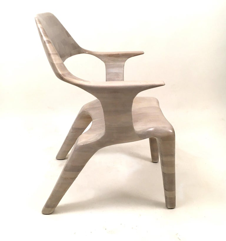 American D2 Lounge Chair Hand-Sculpted in Solid Cherry For Sale