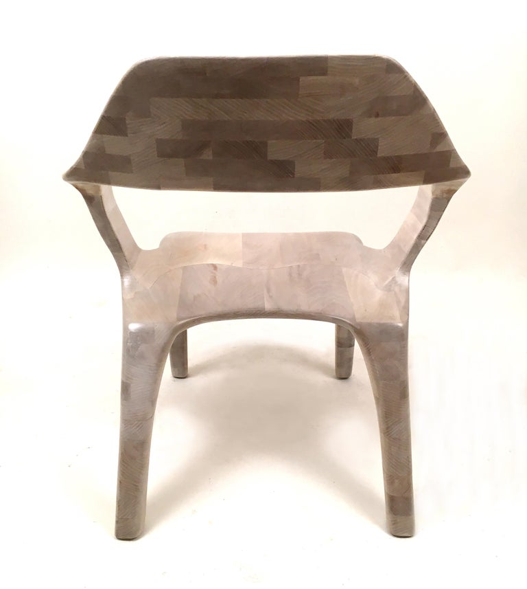Carved D2 Lounge Chair Hand-Sculpted in Solid Cherry For Sale