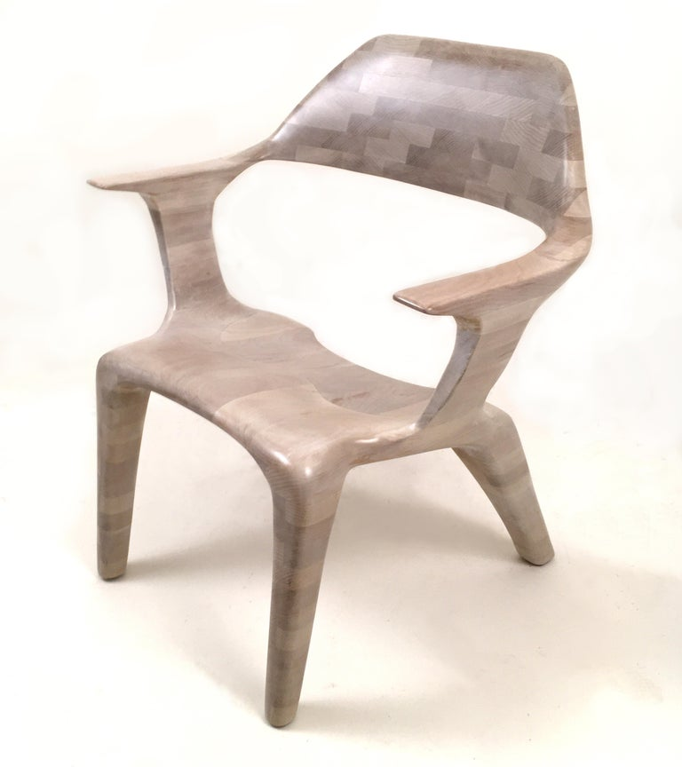 D2 Lounge Chair Hand-Sculpted in Solid Cherry In New Condition For Sale In Brooklyn, NY