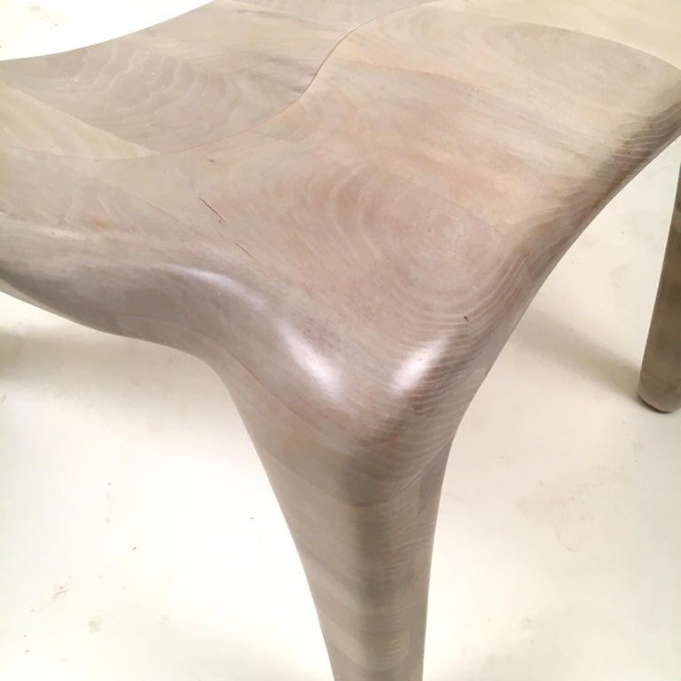 Contemporary D2 Lounge Chair Hand-Sculpted in Solid Cherry For Sale