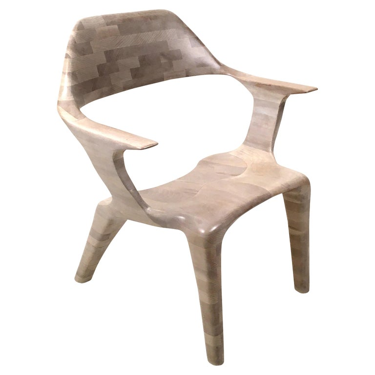 D2 Lounge Chair Hand-Sculpted in Solid Cherry For Sale