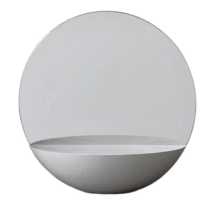 Italian D30 Double Sided Mirror in Concrete 100% Handmade in Italy For Sale